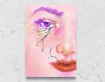 Crying flowers digital illustration