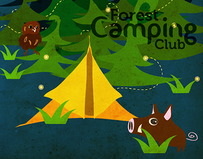 Forest Camping Club Poster Illustration