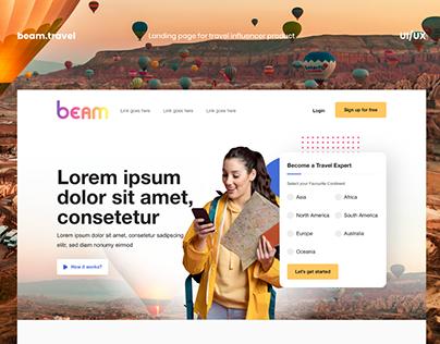 Beam - Travel Influencer landing page