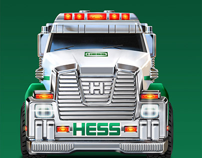 Hess toy truck packaging illustrations