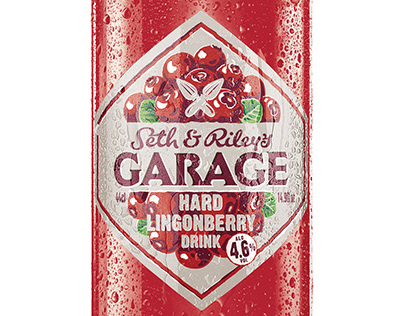 Garage. Hard Lingonberry Drink. (Lable & Illustration)