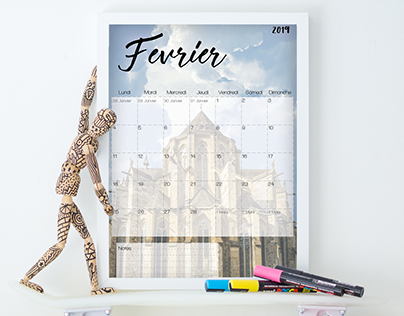 Calendar (french) - Février Mai Octobre - Monuments