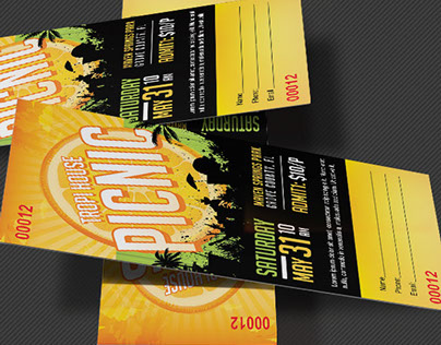 Tropical Picnic Flyer and Ticket Template