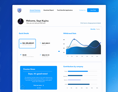 Concept UI for Stanbic IBTC Pensions dashboard