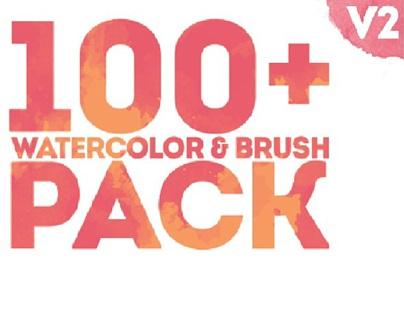 100+ WATERCOLOR & BRUSH PACK
