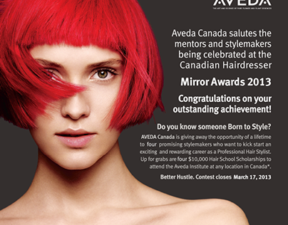 Print Ad layouts for Aveda