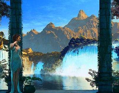 Waterfall Retreat - Digital 30 x 48
