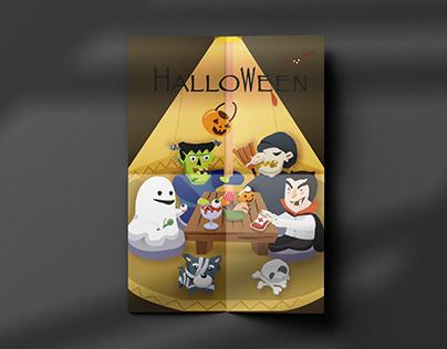 Halloween inTent cafe|Illustration|Eposter