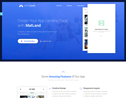 MatLand - HTML5 App Landing Page