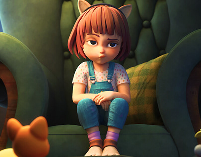 3d animated short - little girl in sofa