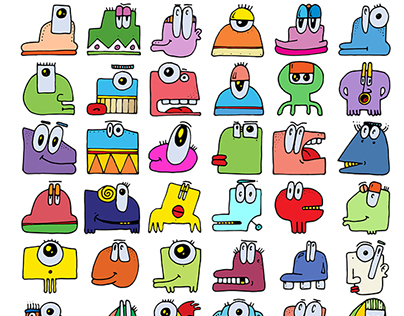 Doodle icons MONSTERS 2015