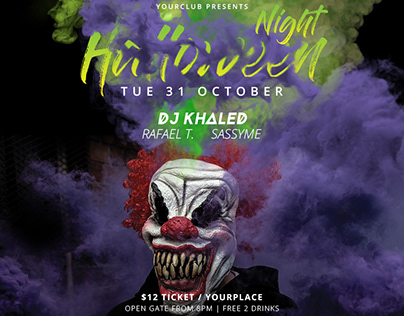 Halloween Party Flyer & Social Media Banner Template