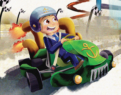 Children's Imagination - Car Race Illustration