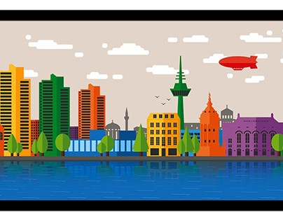 Panorama poster of the city of Mannheim.