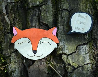"Brooch Foxy | Комплект брошек ""Лиса - фырф"