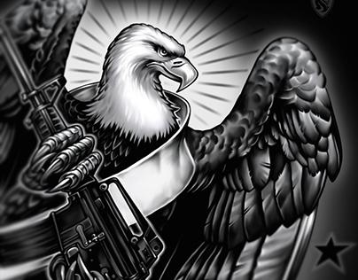 Eagle holding an AR15
