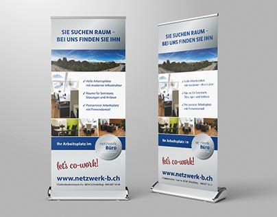 Roll-Up Bannergestaltung für Netzwerkbüro