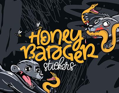 Honey badger bloodthirsty cartoon stickers