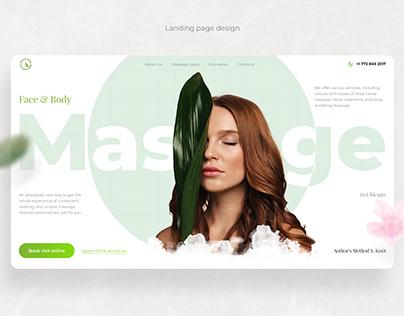 Landing page design for massage salon