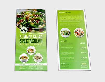 Salad Restaurant Flyer DL Size Template