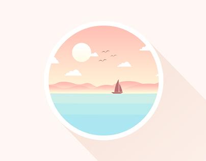 20151025.icon.《Boat, Sun, Water》