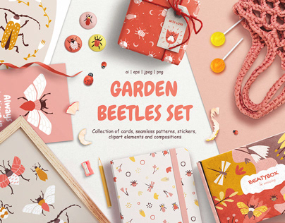 GARDER BEETLES SET | Collection of cards and patterns