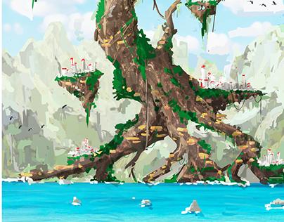 Floating world concept art