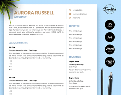 "Resume Template ""Aurora Russell"""