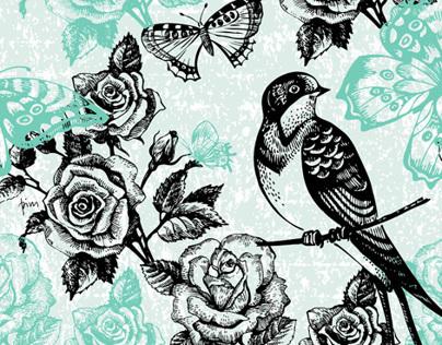 Hand drawn vintage floral patterns