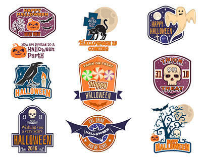 Halloween vintage badges
