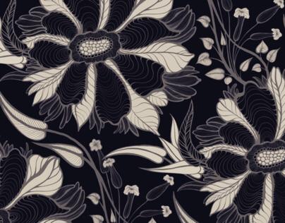 Line art flowers pattern