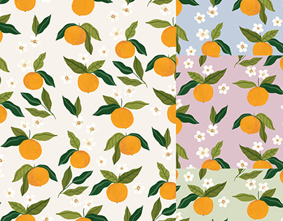 Gouche Oranges Pattern Design