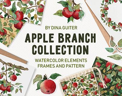 Watercolor hand drawn apple tree brunch set