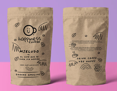 happiness coffee logo and packaging