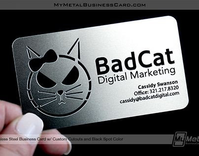 Custom Stainless Steel Business Card with Cutout Areas