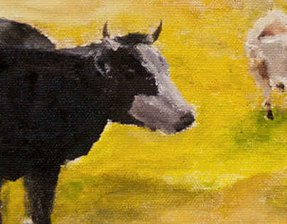 Landscape with herd - oil on canvas