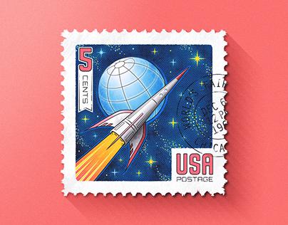 Space Race Stamp (Sticker & Illustration)