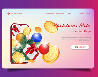 Realistic Christmas sale illustration for landing page.