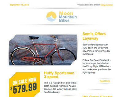 Moon Mountain Bikes E-Mail Blast