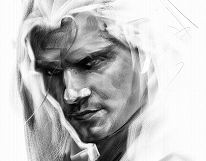 The Witcher Digital Charcoal Portrait