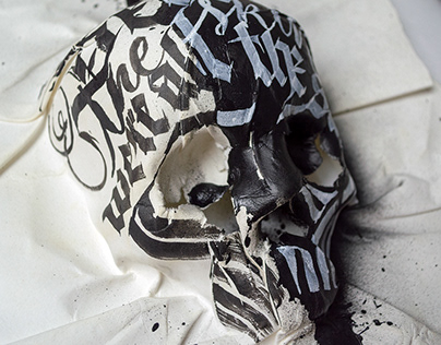 Paper Skull + Calligraphy intervention