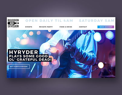 Website design for restaurant / bar with a music venue