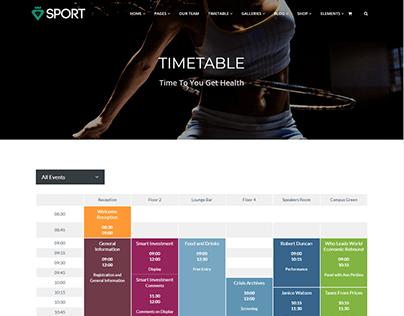 Events Template - Sport WordPress Theme