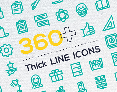 Thick line icons collection