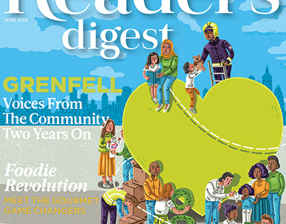 Reader's digest cover illustration: Grenfell 2 years on