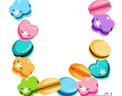 Colorful macaroons in various shapes