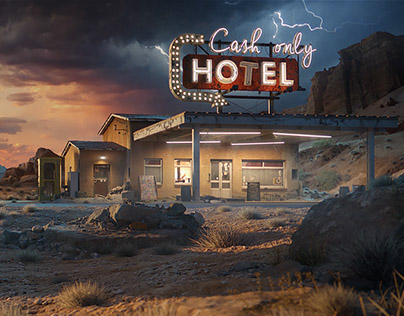 Cash only hotel - 3D