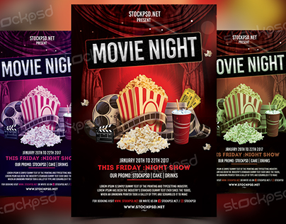 Movie Night Free Psd Flyer Template On Behance