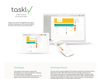 UX Design for taskly, a task management web app