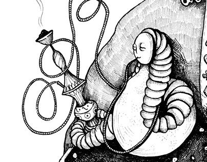 Alice with a mushroom. Ink illustration